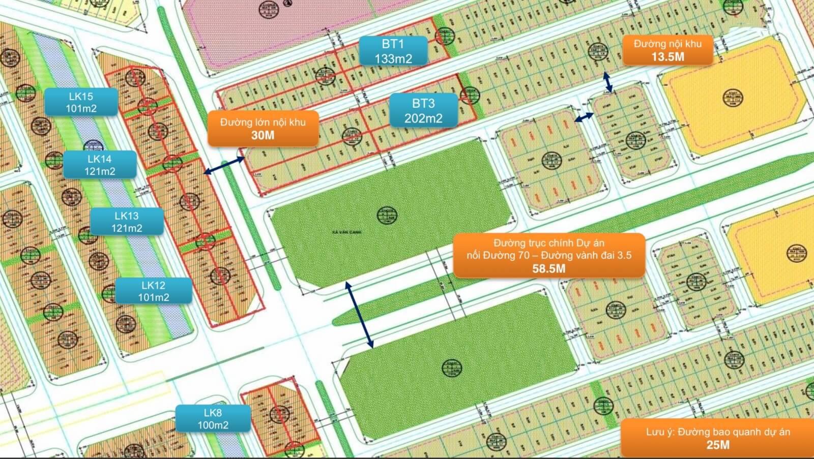 Bản đồ quy hoạch chi tiết khu đô thị Đại học Vân Canh